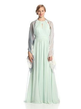 68% OFF Saachi Women's Wool Lace Wrap, Denim/Ivory