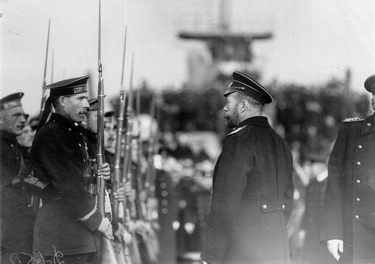 Tsar Nicholas II of Russia inspecting sailors of the Imperial Russian Navy