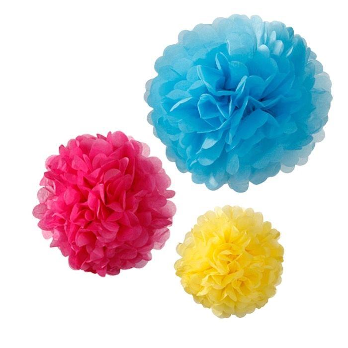 Decoratie Pompons - www.confettienco.be #decoratie #verjaardag #feest #pompon #kleur #colour #webshop #blauw #fuschia #geel