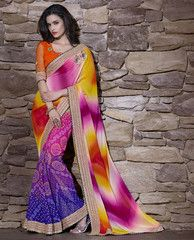 Pink, Yellow & Purple Color Georgette Special Occasion Sarees http://www.shopcost.in/saree