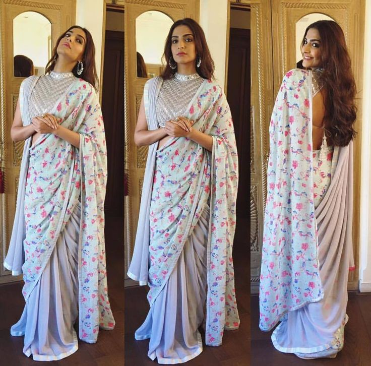 Bollywood Actress Sonam Kapoor in Double Drape Saree with sequinned embroidered blouse