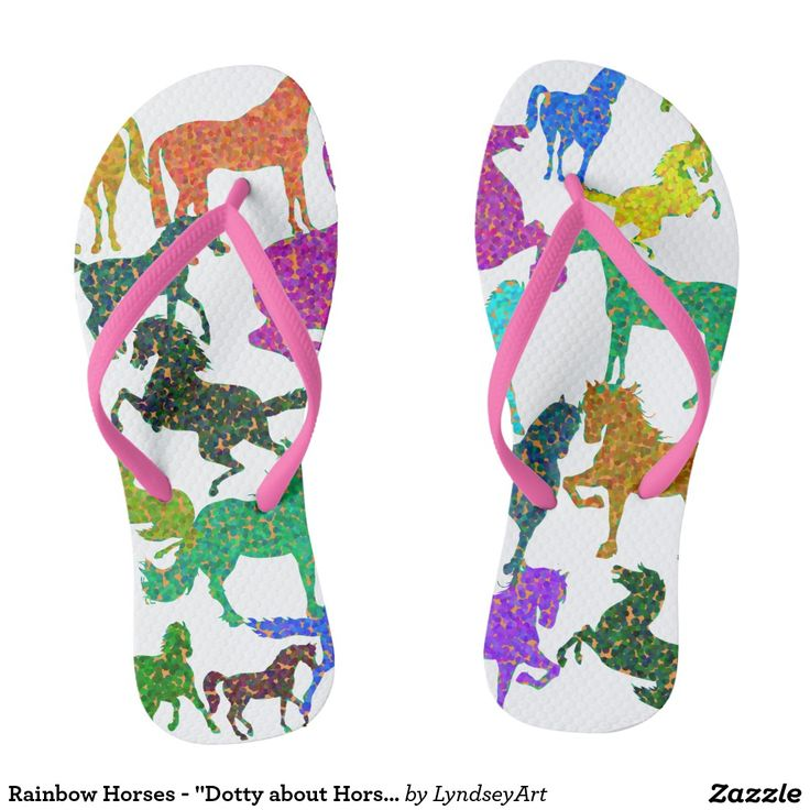 """Rainbow Horses - """"Dotty about Horses!"""" Gorgeous multicolored horses, in the wonderfully """"dotty"""" color bouncing pointallist style. For all of you out there that just adore these magnificent animals. LyndseyART  #horses #rainbow #thongs #jandals #flipflops #lyndseyart #cute"""