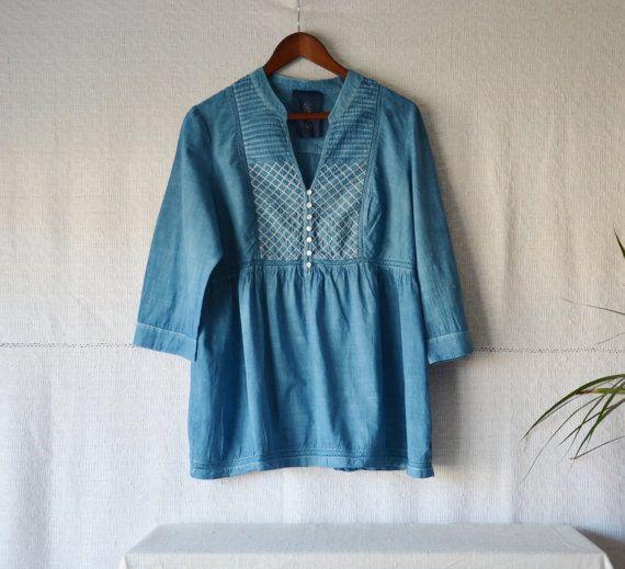 Indigo tunika top dámské indigo košili přirozeně obarvené bohémské oblečení eko oblečení bavlna rolník velikost halenka velký upcycled Boho chic halena