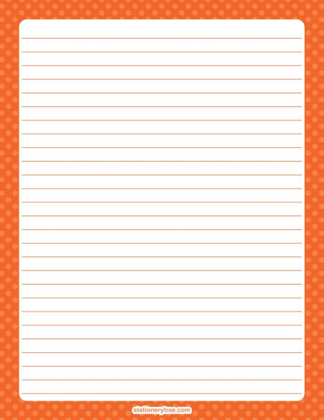 Printable orange polka dot stationery and writing paper. Multiple versions available with or without lines. Free PDF downloads at http://stationerytree.com/download/orange-polka-dot-stationery/