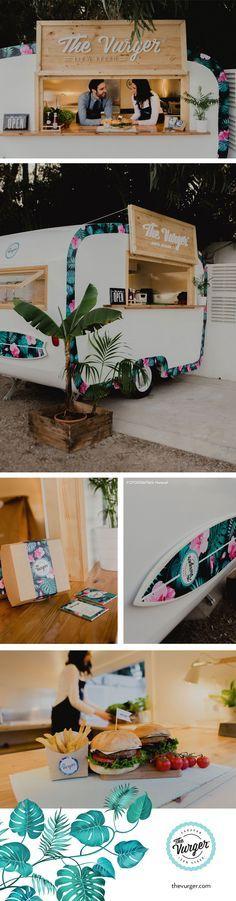 The Vurger Food Truck Caravan · 100% Vegan · Surf style · Tropical design · Plant based burgers · Healthy food · Valencia, Spain · One of the best vegan burger · White · Green · Palms