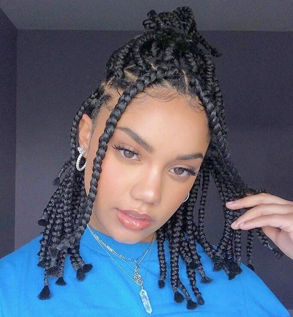 Picture The Greatest Box Braids Hairstyles Of 2020 New Natural Hairstyles In 2020 Short Box Braids Black Box Braids Short Box Braids Hairstyles