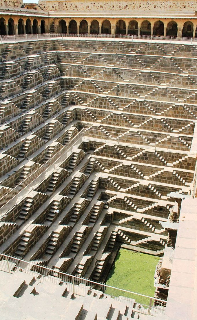 Water Conservation in India - Chand Baori  is a stepwell situated in the village of Abhaneri near Jaipur in the Indian state of Rajasthan. These step-wells are grand structures of high archaeological significance constructed since ancient times, mainly for storing water for basic needs. Gujarat, Rajasthan and Karnataka have the maximum number of these structures, which attract tourists from all over the world.
