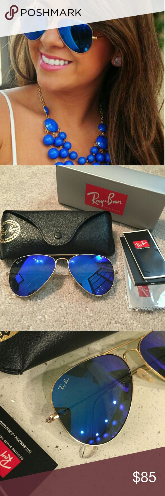 Authentic Ray Ban Aviator RB3025 in Blue gold ❤️️All my item are 100% Authentic / Real Ray ban ❤️Brand new never used  ❤️️Ray Ban Aviator RB3025 lens size 58MM ❤️made in Italy ❤️Frame color Gold ❤️come with case,cloth, booklet and box.  💕Feel free to ask any question💕 Ray-Ban Accessories Glasses