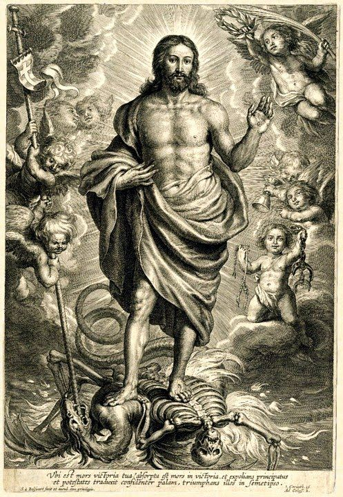 Christ's final triumph over the Devil and Death; allegory based on Revelation, Chapter 20