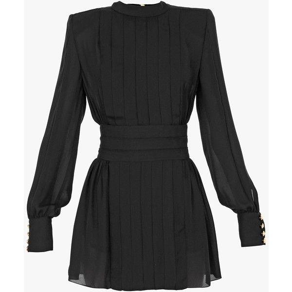 Balmain Silk-georgette long-sleeved mini-dress ($4,125) ❤ liked on Polyvore featuring dresses, balmain, vestido, black, slip dress, mini slip dress, pleated mini dress, zipper dress and balmain dress