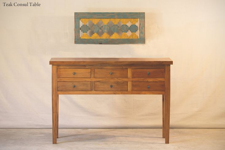 Hunt and Lane | a top shelf furniture company | Teak Console Table | Six Drawers | 6 | Wood | Java Indonesia | tropical living | organic, sustainable furnishings and interiors for your home.