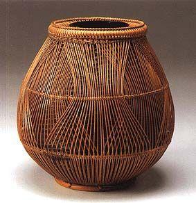 Japanese bamboo basket by National living treasure, Chikubosai Maeda