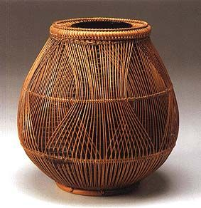 Japanese bamboo basket by National living treasure, Chikubosai Maeda