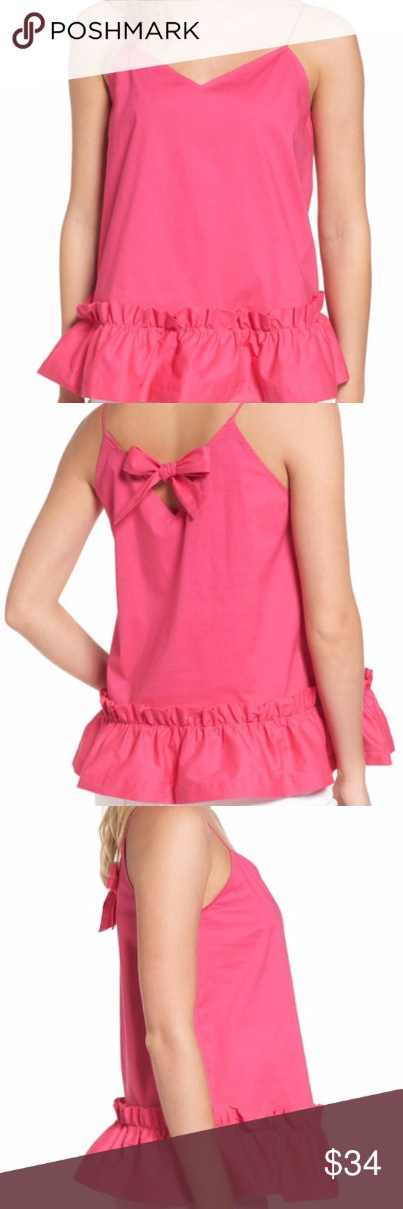 """NWT Pleione Bow Back Tank Fuschia XL New with tags! Gorgeous tank from Pleione. Adorable bow with keyhole on the back. Peplum on the bottom. Fuschia color. Size Extra Large. Beautiful, fun top! Perfect condition, brand new!  Pit to pit laying flat: 18"""" Shoulder to hem: 28""""  Smoke free home. Pleione Tops Tank Tops"""