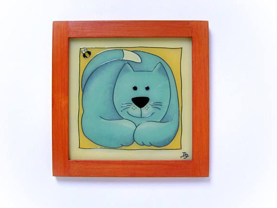 Grey Cat Picture with Orange Frame Happy Childrens Room
