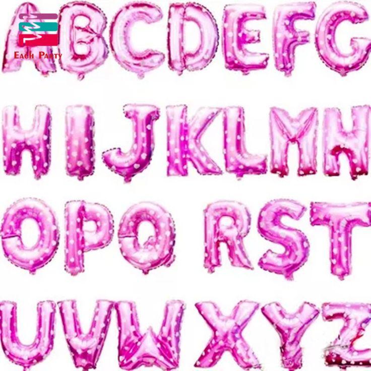 16 дюймов Розовые Буквы Алфавита от A до Z Фольгированные Шары Письмо День Рождения Свадьба День Благодарения Украшения событий и праздничные атрибуты