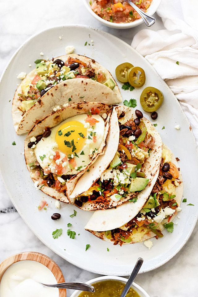 Shredded beef breakfast tacos with egg and avocado