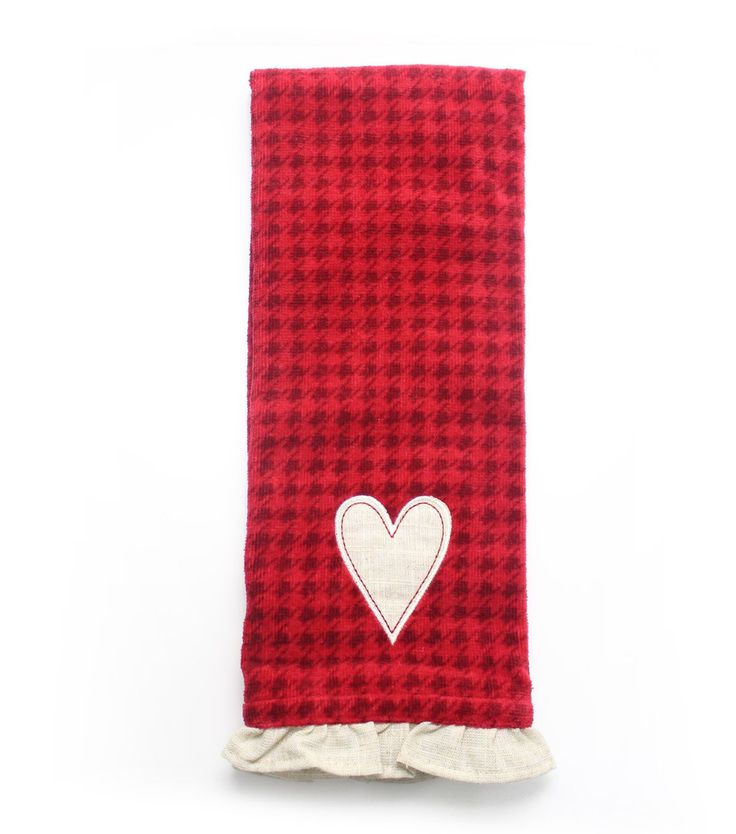 Valentine's Day Heart Terry Hand Towel-Houndstooth
