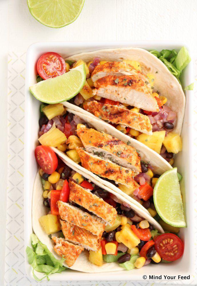 Wraps met kip in limoen marinade en gegrilde ananas - Mind Your Feed