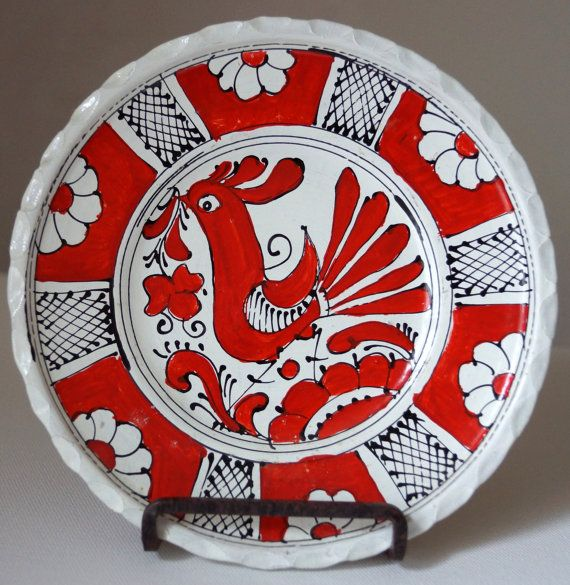 Vintage European CERAMIC FOLK Art Pottery KOROND Red White Rooster Plate Transylvanian Romanian