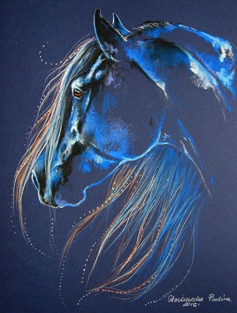 Magic of the Horse - original pastel drawing - 10 x 12.5 in size - shipped in a frame-less plexi glass frame. First of the Seven in the