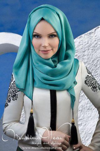 Chiffon Scarf hijab Aquamarine color with silk tassel. – US Muslima Wear