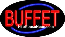 Buffet neon sign is a great business investment. This bright and colorful business neon sign is made to hang in your business window and will let customers know you are ready to do business day or night. With the pull of a chain you can go from static to flashing for added interest.