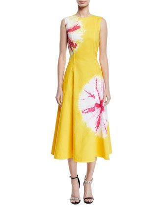 66487eb14 Sand Dollar Print Cotton Midi Dress by CALVIN KLEIN at Bergdorf Goodman.