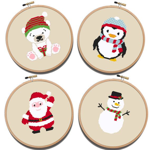 Christmas  Cross Stitch Pattern 4 in 1 Santa Claus by NikkiPattern