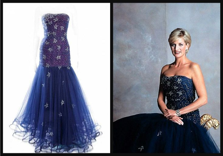 Long strapless, midnight blue gown. The skirt is made of tulle and lined with purple silk. The entire gown is decorated with daimant stars. Designed by Murray Arbeid. Diana first wore this gown to a party given by King Constantine of Greece at Claridge's in London in 1986. She also wore this to the Royal Opera House in London the following year, December 1987. This gown was again worn in an official royal portrait later on. Diana once paired this midnight blue gown with long,