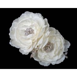 Ivory Flower Fascinator with Crystals