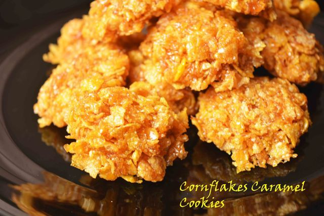 No Bake Corn flake Caramel Cookies  Here I present the most delicious cookies for you #caramel #cornflakes #cookies #quick #nobaking #crunchy #chewy #cornflakescookies #caramelcookies Recipe at :www.annapurnaz.in