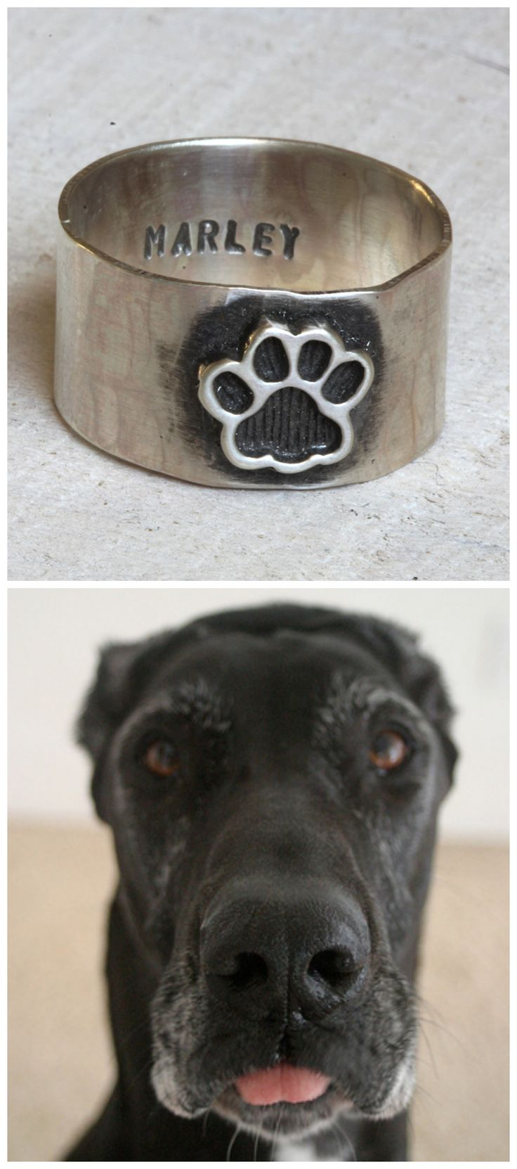 My rescued Great Dane Marley was the inspiration for this paw print ring. I love her so much!