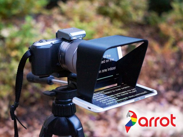 The Parrot.  Finally, a compact and affordable teleprompter for DSLR cameras. Perfect for video professionals, bloggers, Indy films, and more.