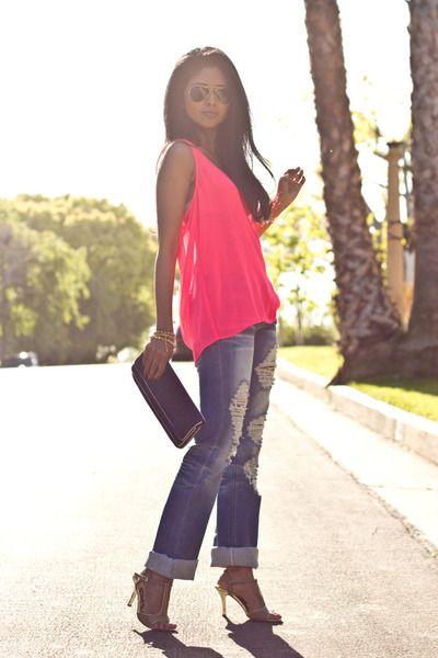 Spring...: Bright Pink, Neon Jeans, Neon Lights, Neon Tops, Fluent Fashionista, Pink Tops, Boyfriends Jeans, Neon Pink, Fashion Ideasoutfitspiec