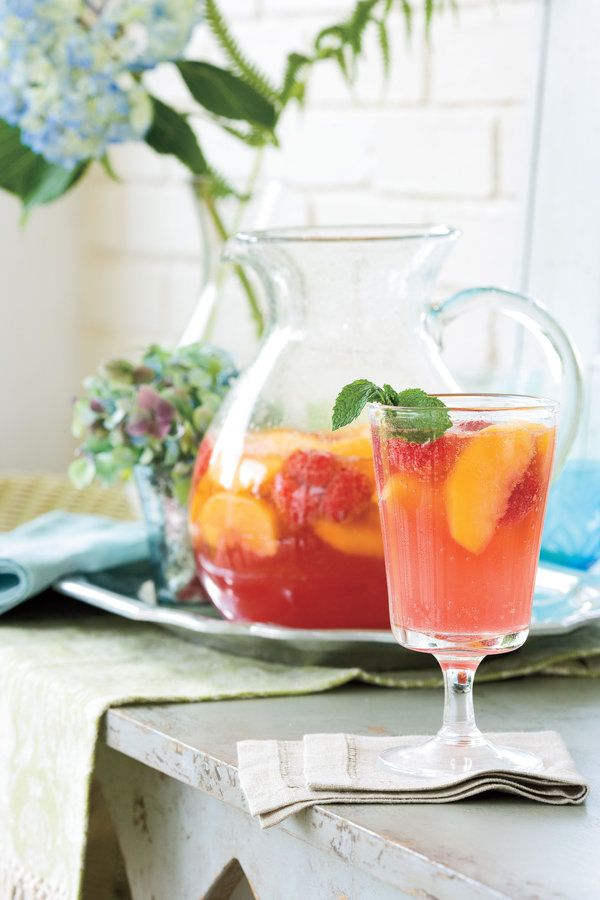 These light and fresh sangria recipes are perfectly pleasing warm-weather libations. Stir up a batch for a refreshing sipper. This delicious Carolina Peach Sangria calls for fresh peach slices, fresh raspberries, and peach nectar for its fantastic flavor. Be sure to use rosé, not white Zinfandel, in this cool sangria. Recipe: Carolina Peach Sangria