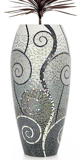 Beautiful mosaic vase. I like the art deco design.