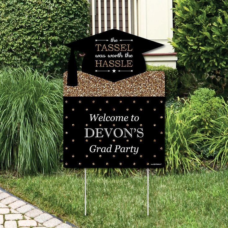 Tassel worth the trouble - Gold - Graduation Decorations - Graduation Party Personalized Welcome Yard Sign