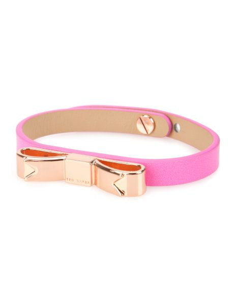 Leather bow bracelet - Mid Pink | Gifts for her | Ted Baker UK