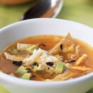 Tortilla Soup with Dried Chile, Fresh Cheese, and Avocado Recipe | MyRecipes.com