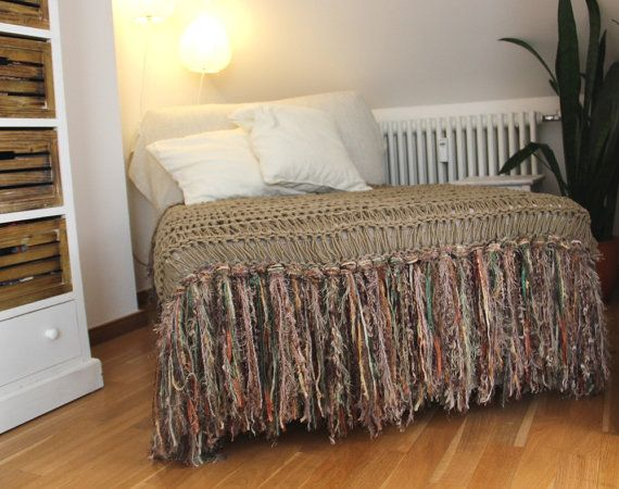Taupe Brown Rustic Home Decor Throw Blanket with Green, Cream in Fringe. Afghan Lap Warmer for Chaise Lounge, Hand Knit