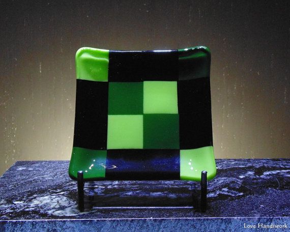 Green and Black Small Square Fused Glass Dish by LoveHandyWork
