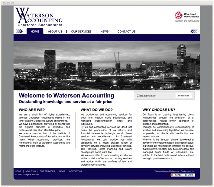 Waterson Accounting are highly experienced, talented Chartered Accountants Richmond based in the inner eastern Melbourne suburb of Melbourne.     They are highly professional yet affordable Business Accountants Richmond specialised in tax planning, Business Planning for small to medium sized businesses & self managed superannuation.    Waterson Accounting are a member firm of the Institute of Chartered Accountants of Australia