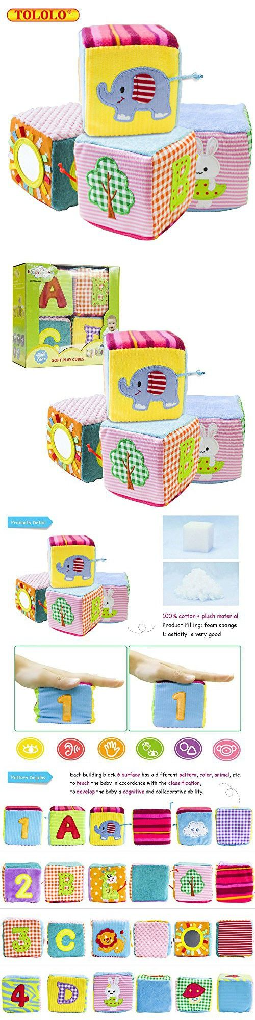 TOLOLO 4PC Infant Baby Cloth Soft Animal Rattle Toy; Foam Grab and Stack Building Blocks with Safety Mirror Cubes Toy Set ( Exquisite Packing)
