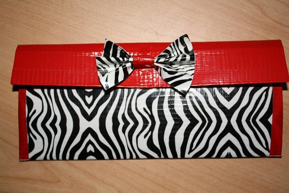 ZEBRA print and RED duct tape womens wallet by sprinkliecupcake