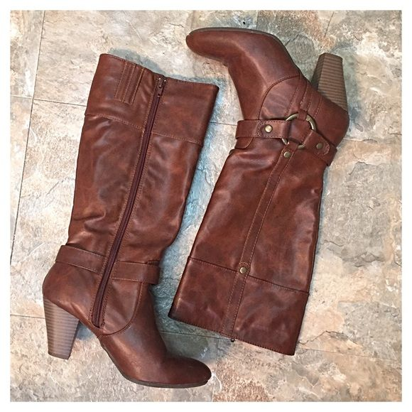 Cognac Heeled Knee High Boots Cute and comfortable, like new condition. They are a little snug around my calves so I haven't worn them very much. No scuffs or stains. Soft lining. They are not leather, but have a nice worn leather look. Brass rivets and hardware. JustFab Shoes Heeled Boots