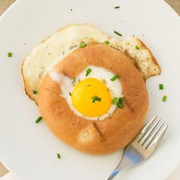 Thomas Recipe: Fry up an egg inside a bagel hole!