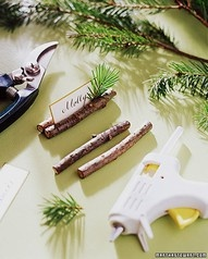 glue cinnamon sticks together for a place card