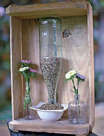Just a picture, but neat idea on how to make a simple bird feeder.