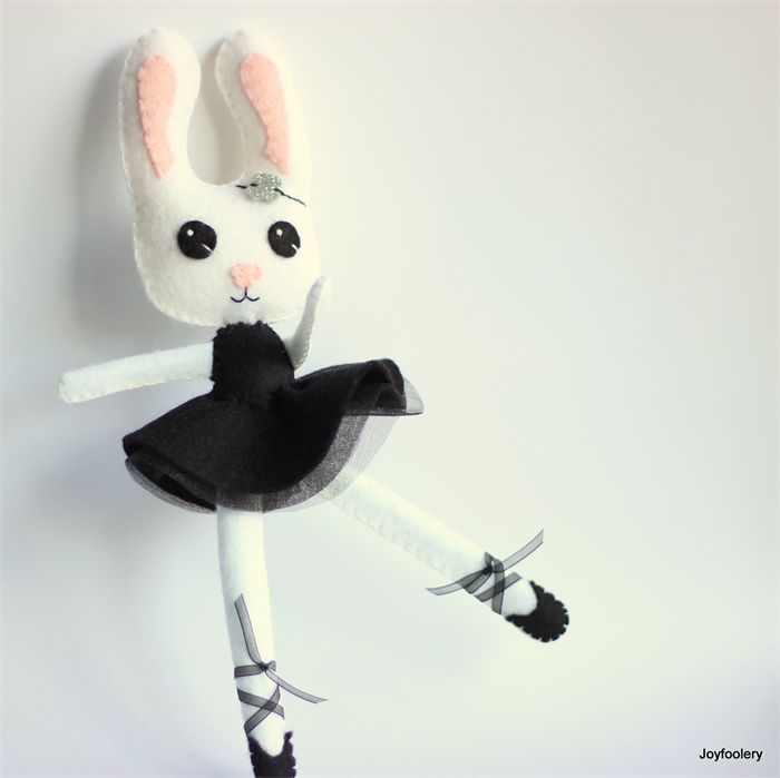 Monochrome Ballerina Bunny by Joyfoolery.  Chocolate free Easter Gift idea.